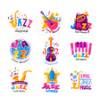 flat set of abstract logos for jazz vector image vector image
