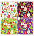 Four Flat Merry Christmas Patterns Set vector image vector image
