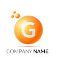 g letter splash orange dots and circle bubble vector image vector image