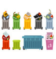 garbage container icons set vector image