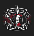 gladiator emblem with a spear vector image vector image