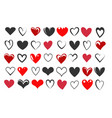 hand drawn heart icon set vector image vector image