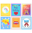 happy birthday princess cards vector image vector image