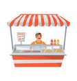 hot dog street stand with seller vector image