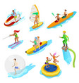isometric people on water activity woman surfer vector image vector image