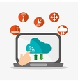 Laptop and cloud computing design vector image vector image