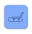linear sledge icon for winter skiing in the snow vector image