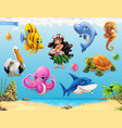 Little girl with a seashell funny sea animals and