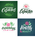 natural cosmetics logo health beauty and vector image vector image