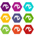 new tent icons set 9 vector image vector image