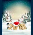 new year holiday background with 2018 and santa vector image
