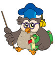 owl teacher with book and pointer vector image vector image