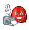 photographer gumdrop mascot cartoon style vector image vector image