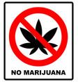 prohibition sign icon no cannabis vector image vector image