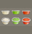sauces in plastic containers realistic set vector image vector image