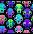 seamless neon bright animals skulls vector image vector image