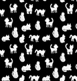 Seamless pattern silhouettes of cats black and vector image