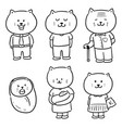 set of cat family vector image
