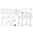 Set of professional piercing equipment Contour vector image vector image