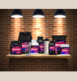 sport nutrition packages realistic vector image