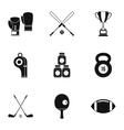 Sports stuff icons set simple style vector image vector image