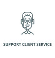 support client service male head line icon vector image vector image