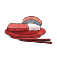 sushi japanese food on a plate roll rice seafood vector image vector image