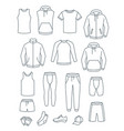 thin line men casual clothes for fitness training vector image vector image