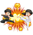 Two girl in kungfu outfit fighting vector image vector image