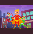 urban background with superhero kids in action vector image vector image