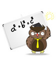 Cartoon wise owl in graduation cap and whiteboard vector image