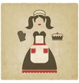 baking concept girl with pie old vector image vector image