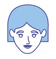 blue silhouette of woman with short hair vector image vector image