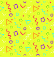 bright yellow pattern with color shapes vector image vector image