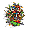 cartoon doodle-boy skateboarder vector image vector image