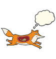 cartoon fox with mouse in belly with thought vector image vector image