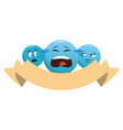 chat emoticons with ribbon banner vector image