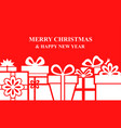 christmas box gifts background on red background vector image vector image