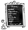 Coffee shop menu on a chalkboard vector image