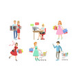 collection people carrying shopping bags with vector image vector image