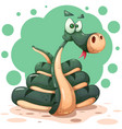 cute funny crazy snake characters with bow vector image vector image