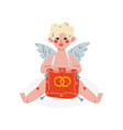 cute funny cupid holding cushion with wedding vector image