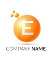 e letter splash orange dots and circle bubble vector image vector image