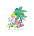 exotic summer vacation colorful tahiti logo vector image vector image