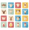 Farm animals flat icons with long shadow vector image vector image