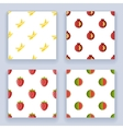 Flat design fruit seamless pattern set icons line vector image vector image