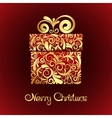 Gift box with gold ornament vector image