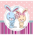 Greeting card with two Rabbits vector image vector image