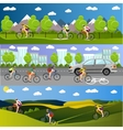 Group of bicycle riders on bikes in mountains vector image vector image