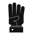 hand four icon simple black style vector image vector image